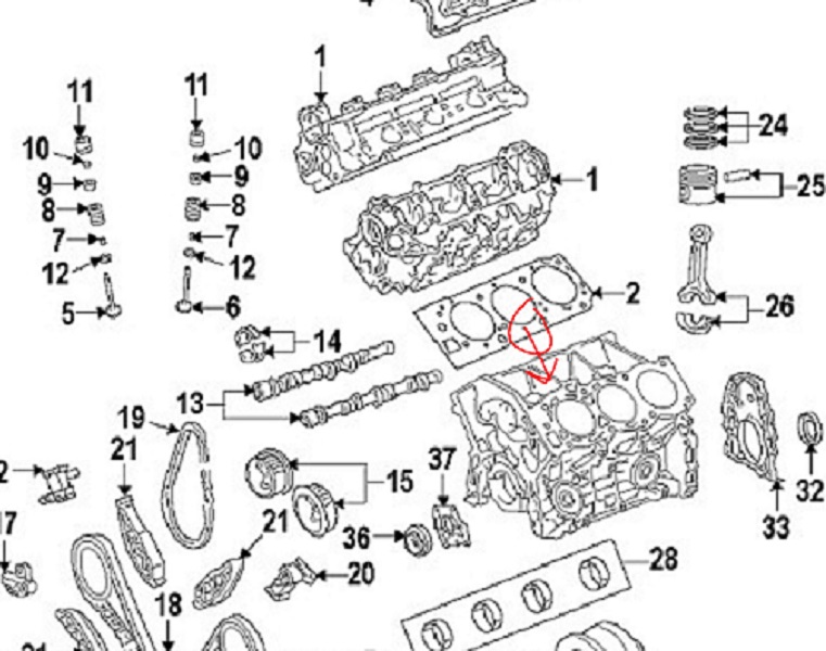 toyota and lexus 2gr fe 3 5l v6 coolant head gasket leak rh carspecmn com 2005 Toyota Sienna Engine Diagram 2011 Toyota Sienna Engine Diagram