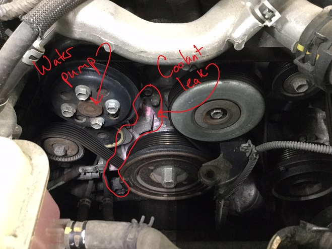 LS460 water pump leak