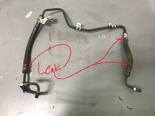 Leaking power steering line on Lexus RX330, ES330, Toyota