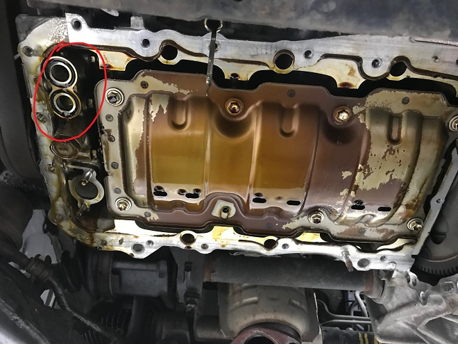 Upper oil pan off