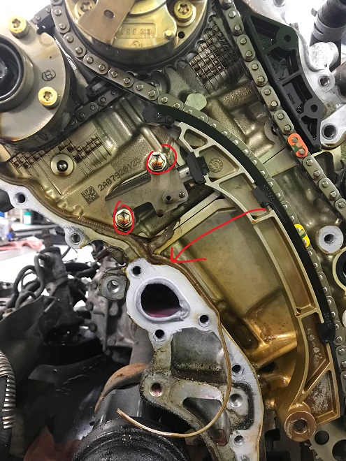 Removing the tensioner, guide
